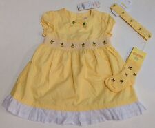 NWT Gymboree Lemon Tree 12-18 Months Smocked Yellow Dress Socks Fruffle Headband