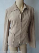 Ladies Beige Suede Effect Smart Zip Through Lined Jacket UK 8 EU 36