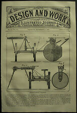1878 Design & Travail inventions haie Coupure machine J Hornsby Grantham Patent