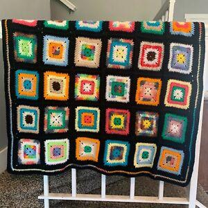Vtg Granny Square Black Afghan Crochet Throw Blanket Roseanne 62 X 37 Handmade