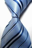 Hot! Classic Striped Light Blue White JACQUARD WOVEN 100% Silk Men's Tie Necktie