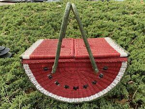 Vintage Watermelon Wicker Picnic Basket