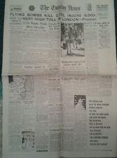 Evening News NEWSPAPER- Jul 6th 1944- Flying bombs kill 2752 injure 8000- London