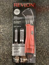 Revlon 2 in 1 Perfect Heat 4 Piece Hot Air Brush/Blow Dryer Ceramic Red New OPEN