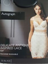 NEW M&S AUTOGRAPH DELICATE ANTIQUE INSPIRED LACE SLIP 32D - CREAM MIX