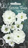 Fantasy Blooms WHITE 8 Mixed Paper Flowers 20-50mm across Green Tara GT D