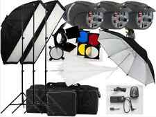 540w Studio Flash Lighting kit set 3x180w P-180 Replaceable Flash bulbs UK cable