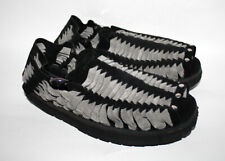 TREADS 1970s Retro Style Men's Sandals Hand Made Black & Grey Leather
