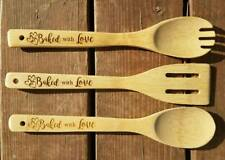 Baked with Love Bamboo Utensil Set Salad Spork Spoon Spatula Chef Baker Gift