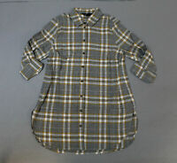 New Look Women's Long Sleeve Barry Check Flannel Shirt TM8 Gray Size US:4 UK:8
