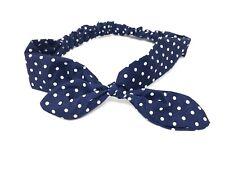 Ladies Stretch Hairband Navy Blue Polka Dot Bow Elasticated Headband