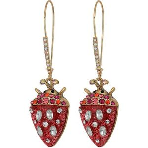 Betsey Johnson Strawberry Beetle Ladybug Long Drop Earrings