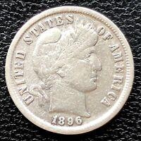 1896 Barber Dime 10c Better Grade VG - F #20043