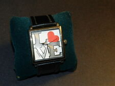 Bijoux Terner LOVE white square face black strap watch - NEW - FASHION