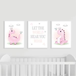 Dinosaur Nursery Prints Set of 3, Pink, Girl Wall Art, Kids Bedroom Decor, Gift
