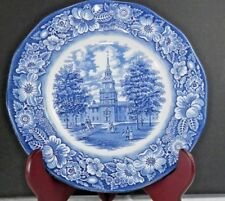 "Liberty Blue Staffordshire Ironstone Independence Hall Dinner Plate 10"" England"