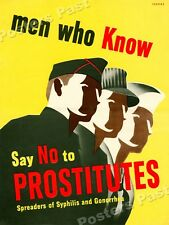 """1940s """"Say No to Prostitutes"""" WWII Helath Propaganda War Poster - 24x32"""