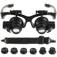 10/15/20/25X Magnifier Eye Glass Loupe Jeweler Watch Repair Kit LED Light