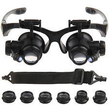 Loupe Horloger montre de reparation 20x binoculaire lunette monture LED lampe