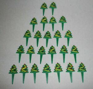 Lot of 24 Vintage Christmas Tree Cupcake Picks Toppers 1983 Wilton Plastic Picks