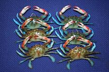 (6) Realistic Blue Crab Replicas 3 3/4 inch, Crab Shack Food Display