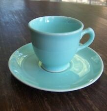 Vintage TS&T Lu-Ray Pastels Green Footed Demitasse Cup & Saucer Set
