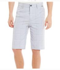 "NEW Hurley light gray khaki chino plaid walk shorts  sz 40 GRANADA 25"" long"