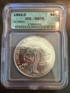 1983-D Olympics Discus Thrower $1 ICG MS70 Silver Dollar - VERY RARE!!