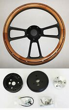 "14"" Alder Wood Grip on Black Steering Wheel Fits most 69-94 GM column"
