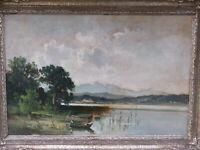 Fritz HALBERG-KRAUSS (1874-1951) - Seelandschaft mit Ruderboot und Berge um 1900