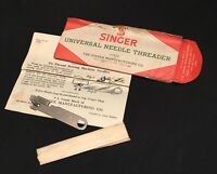 VINTAGE SINGER UNIVERSAL SEWING MACHINE NEEDLE THREADER 121632 + INSTRUCTIONS