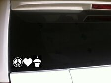 "Peace Love Cupcake vinyl sticker car decal 7"" *C19* fun gigi food heart cherry"