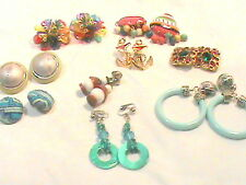 Lot of Clip- On Earrings Bold …  Colorful …Plastic …Metal … cloth covered … gl