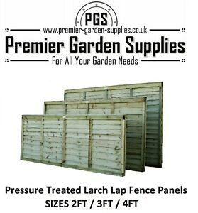 New Premier Larch Lap Fence Panel Treated Timber Sizes 2ft - 4ft Free Delivery
