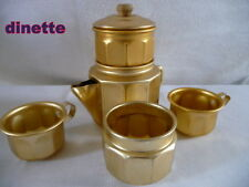 DINETTE ANCIENNE   METAL alu doré léger SERVICE  café
