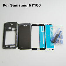 Black case mid frame battery cover front screen glass lens galaxy note 2 n7100