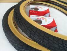 20 x 2.125 BMX Bike Tires for Street Road Slick Includes Tubes *New GUMWALL 20""