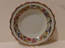 Vintage Lefton Candy, Nut Bowl, Dish, #6807 Jacobean Print Dsgn, Gold Trim   (S7