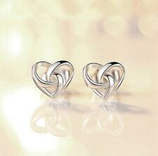 925 Sterling Silver Stunning Swirl Heart Stud Earrings Womens Jewellery Gift UK