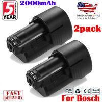 2PCS 12V 2000mAh Li-ion Replace Battery for BOSCH BAT411 BAT411A BAT412A BAT414