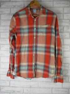 Scotch & Soda Mens shirt L Red blue check print Long sleeve Linen Cotton