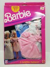 Nrfb Barbie Doll 1989 Fantasy Fashions 2 Complete Fashions Bride Bridesmaid