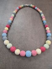 Pretty Chalky Matt Colours Rough Textured Bead Necklace NEW