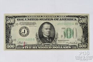 1934-A $500 Federal Reserve Note Currency J00044280A Kansas City $500 Note 21324