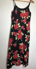 14 (Medium) Retro Laura Ashley Gorgeous Black Floral Rose Dress Midi Length Cute