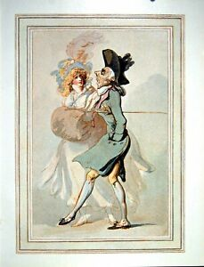 Original Old Antique Print Q By Thomas Rowlandson From Watercolour 1902 20th