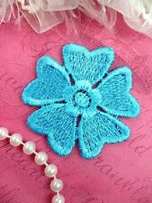 """Embroidered Applique Flower Venice Lace Turquoise Floral 2"""" (GB439-tr)"""