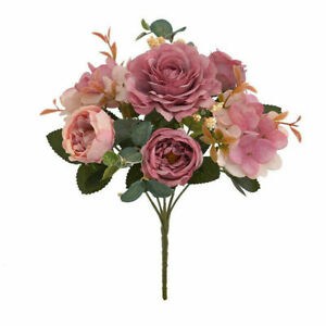 Artificial Fake Flowers Silk Peony Bunch Bouquet Home Wedding Party Decor New