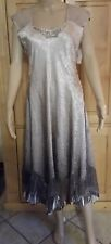 New KOMAROV Charmeuse & Chiffon A Line Mid Calf Dress Gown Taupe Ombre Large