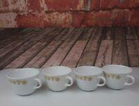 Set of 4 Vintage Corelle Golden Butterfly Coffee Tea Mugs Cups